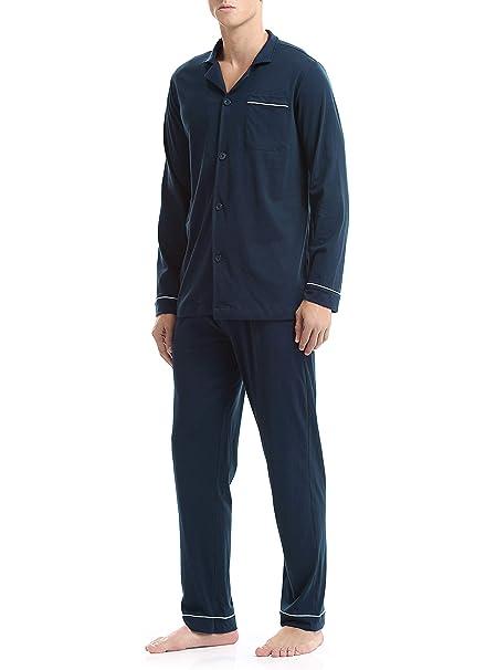 Genuwin Hombre Pijama de 2 Piezas Conjunto de Pijama de 100% Algodón para Hombre,