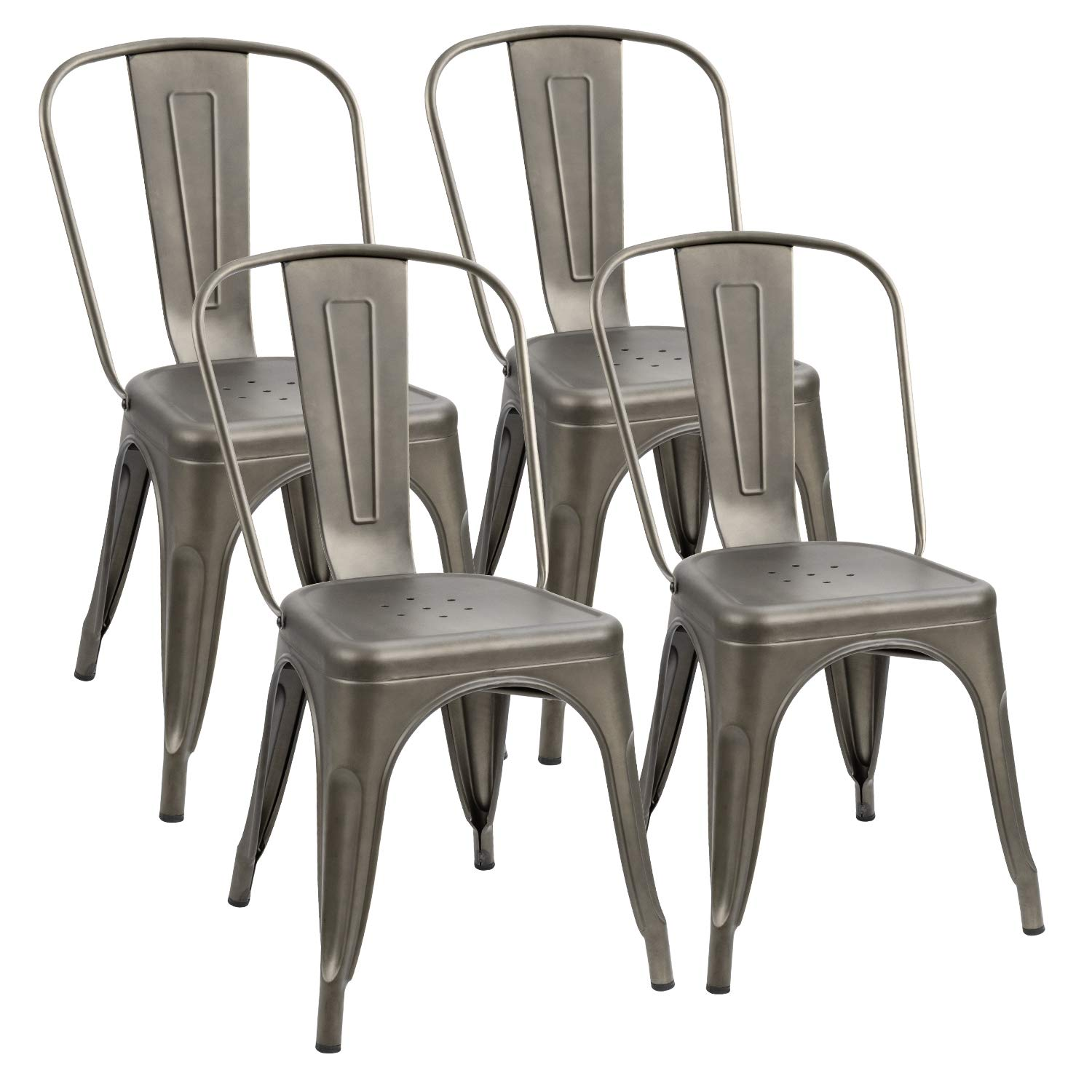 Flamaker Metal Dining Chairs Stackable Kitchen Dining Chairs Metal Chairs Bistro Cafe Side Chairs Height Restaurant Chairs Tolix Side Bar Chairs, Set of 4 (Gun) by Flamaker