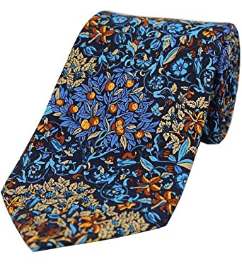 9ba312cdac3 Posh and Dandy Mens Trees and Leaves Luxury Silk Tie - Navy Blue at ...