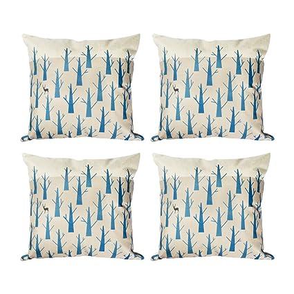 Topfinel hojas algodón lino fundas de cojín almohada cuadrado decorativa para sofás Juego de 4 45x45cm Árbol desierto Árbol desierto