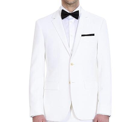 Review HBDesign Mens 1 Piece 2 Button Notch Lapel Slim Trim Fit Dress Suite White