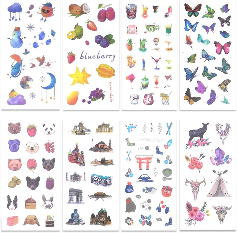 48 Sheets Washi Paper Stickers, Decorative Sticker Adhesive Planner Sticker Set, Suitable for Diary Notebooks Arts Kids DIY Crafts Bullet Journal Scrapbook Sticker