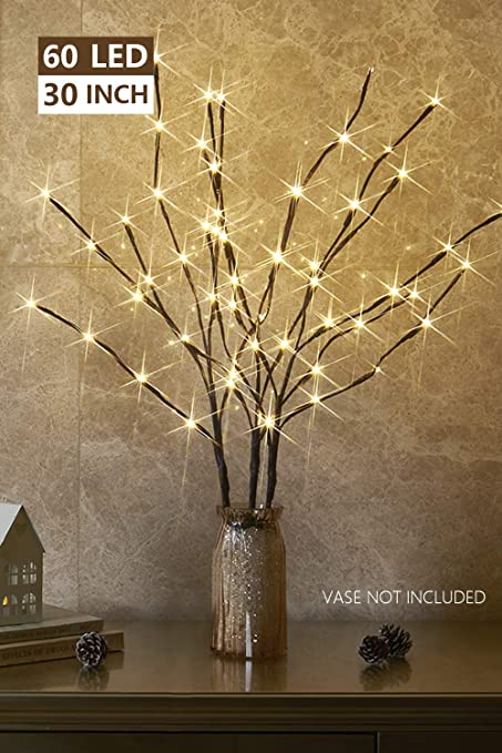26 Inch 60 Led Brown Wrapped Lighted Branch Stake 3 Pack Set Multi-color Light for Outdoor and Indoor Use WED 2 Pack Lighted Twig Branches