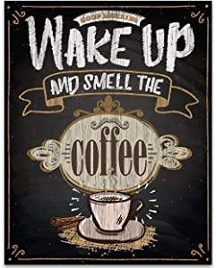 Wake Up and Smell The Coffee - Chalkboard Look - 11x14 Unframed Typography Art Print - Great Gift and Decor for Restaurant, Cafe, Coffee Shop, Kitchen and Dining Room Under $15