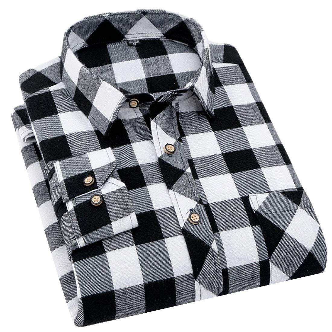Jotebriyo Mens Casual Long Sleeve Checkered Lapel Slim Button Down Dress Work Shirt