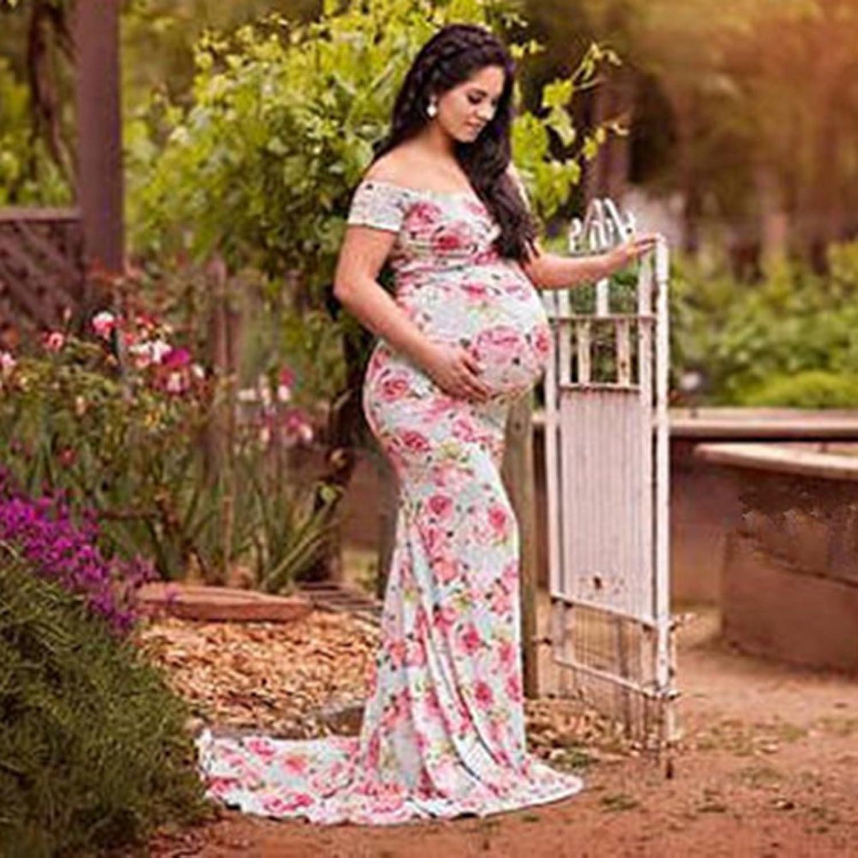 Broadroot Frauen Blumendruck Mutterschaft Schulterfrei Kleider ...