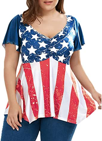 ILUCI Women's Tops Plus Size T-Shirt American Flag Printed