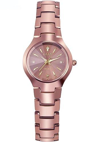 Dom Mujer Rosa Lujo Acero de tungsteno Marcas de Relojes Analogico Quartz: Amazon.es: Relojes