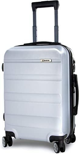 Spinner Suitcase Large – Lightweight ABS Hardshell 28 Inch Luggage with Built in TSA Lock – Silver