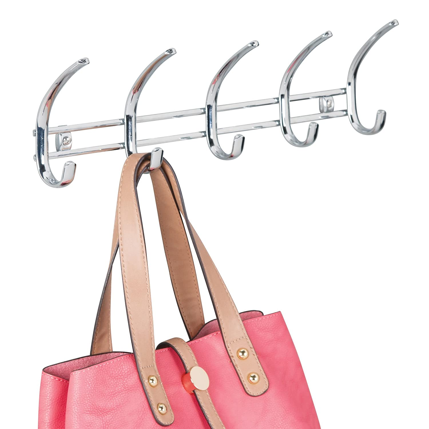 Leashes 10 Hooks Scarves mDesign Modern Metal Wall Mount Hanging Storage Organizer Rack for Coats Hoodies Bath Towels 10 Hooks Robes Purses Chrome MetroDecor Chrome Men and Women/'s Clothing Men and Womens Clothing Hats