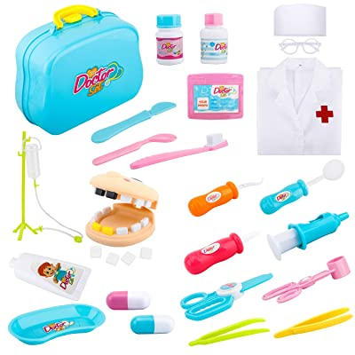 Zooawa Medical Dentist Pretend Play Set, [26PCS] Doctor and Nurse Role Play Kits Dress-Up and Educational Toys with Handy Carrying Case for Kids and Toddlers Over 3 Years Old - Colorful: Toys & Games