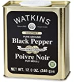 Watkins Gourmet Spice Tin, Pure Ground Black Pepper, 12 oz. Tin, 1 Count