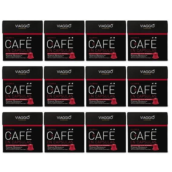 VIAGGIO ESPRESSO - 120 Cápsulas de Café Compatibles con Máquinas Nespresso - COLOMBIA
