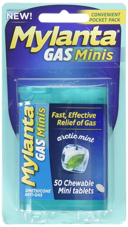 Mylanta Gas Mini Chewable Tabs, Arctic Mint, 50 Mini Tablets Per Bottle (5 Pack) by Mylanta