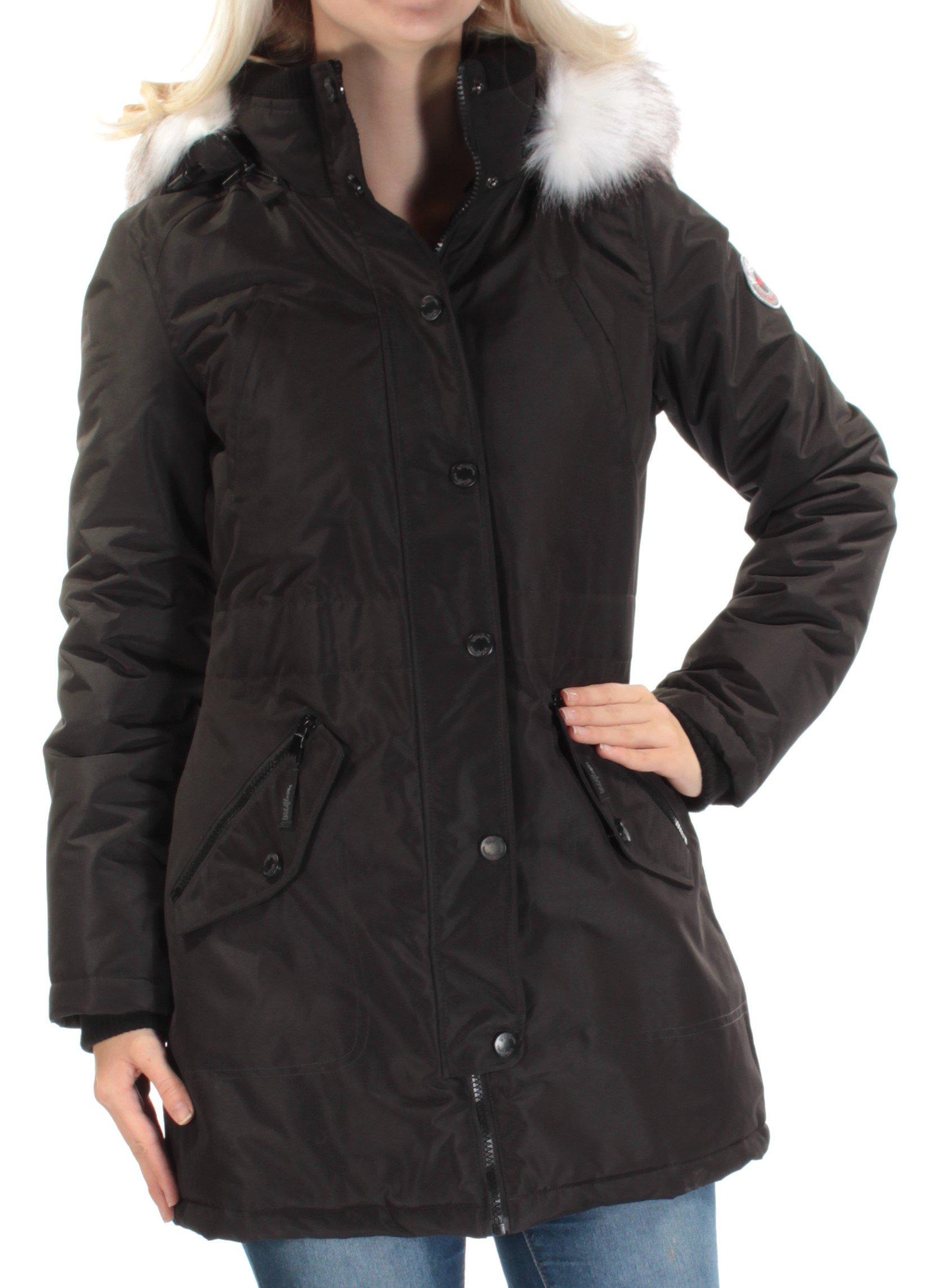 Wild Flower Womens Faux Fur Long Sleeves Puffer Coat Black XS