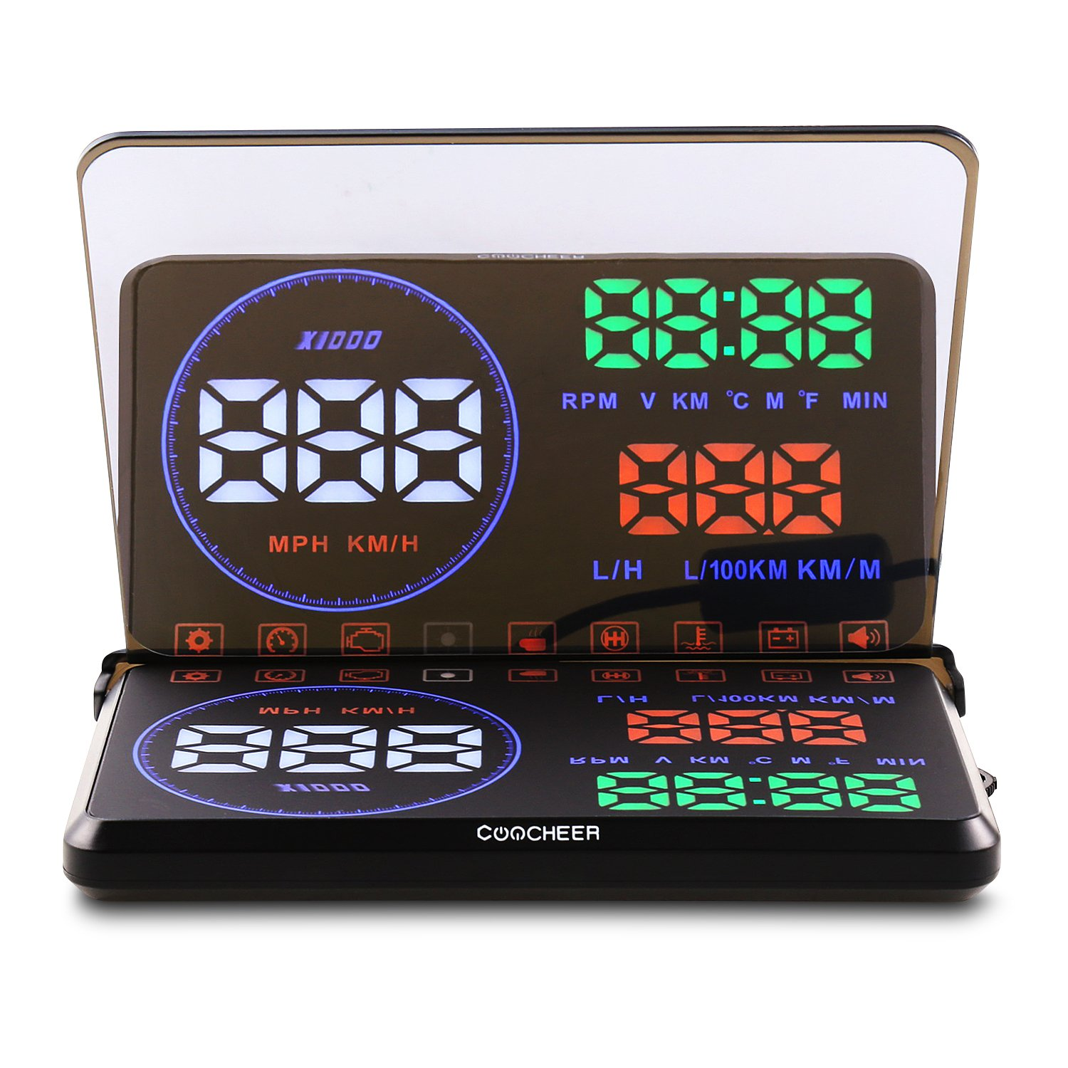 COOCHEER Head Up Display, Car HUD with OBD2,Interface Plug Display Speed, RPM, Temperature, Fuel Consumption, Driving Distance Measurement,Various Alarm