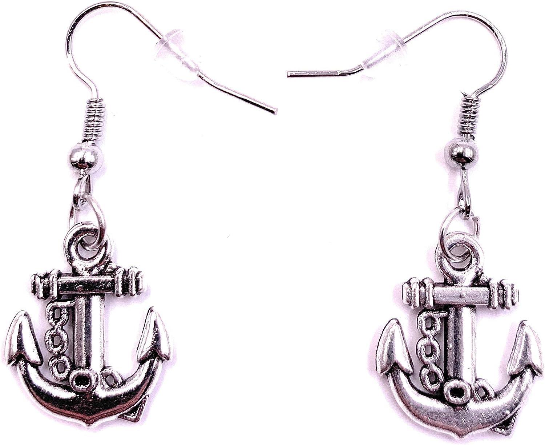 H-Customs Anker Anlegekette Meer Ohrringe Ohrringe Ohrschmuck Anh/änger Silber Metall