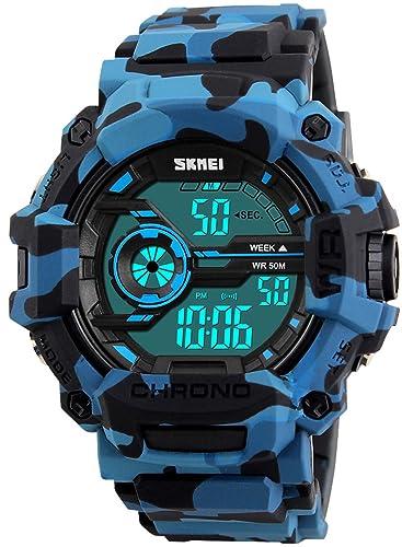 Marca de lujo reloj Digital impermeable hombres Militar deportes relojes moda casual hombres estudiante de nadar vestido LED relojes de pulsera: Amazon.es: ...