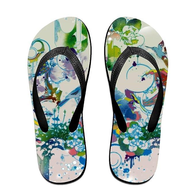6aaffbcfee9bc Amazon.com  Couple Slipper Watercolor Splash Print Flip Flops Unisex ...