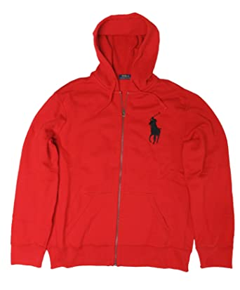 Polo Ralph Lauren Mens BIg Pony Hooded Sweat Jacket Hoodie RL Red 2000, XL