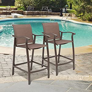 Crestlive Products Outdoor Counter Height Bar Stools Set of 2 Classic Patio Furniture Bar Chairs with Heavy Duty Aluminum Frame in Antique Brown Finish (Brown)