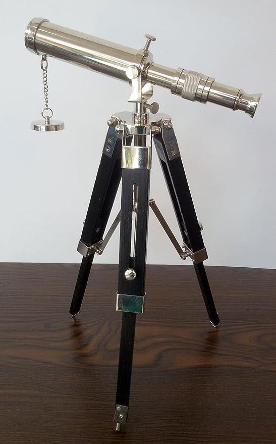 DECORATIVE TABLE TELESCOPE WITH WOOD TRIPOD BRASS NAUTICAL TELESCOPES DECOR