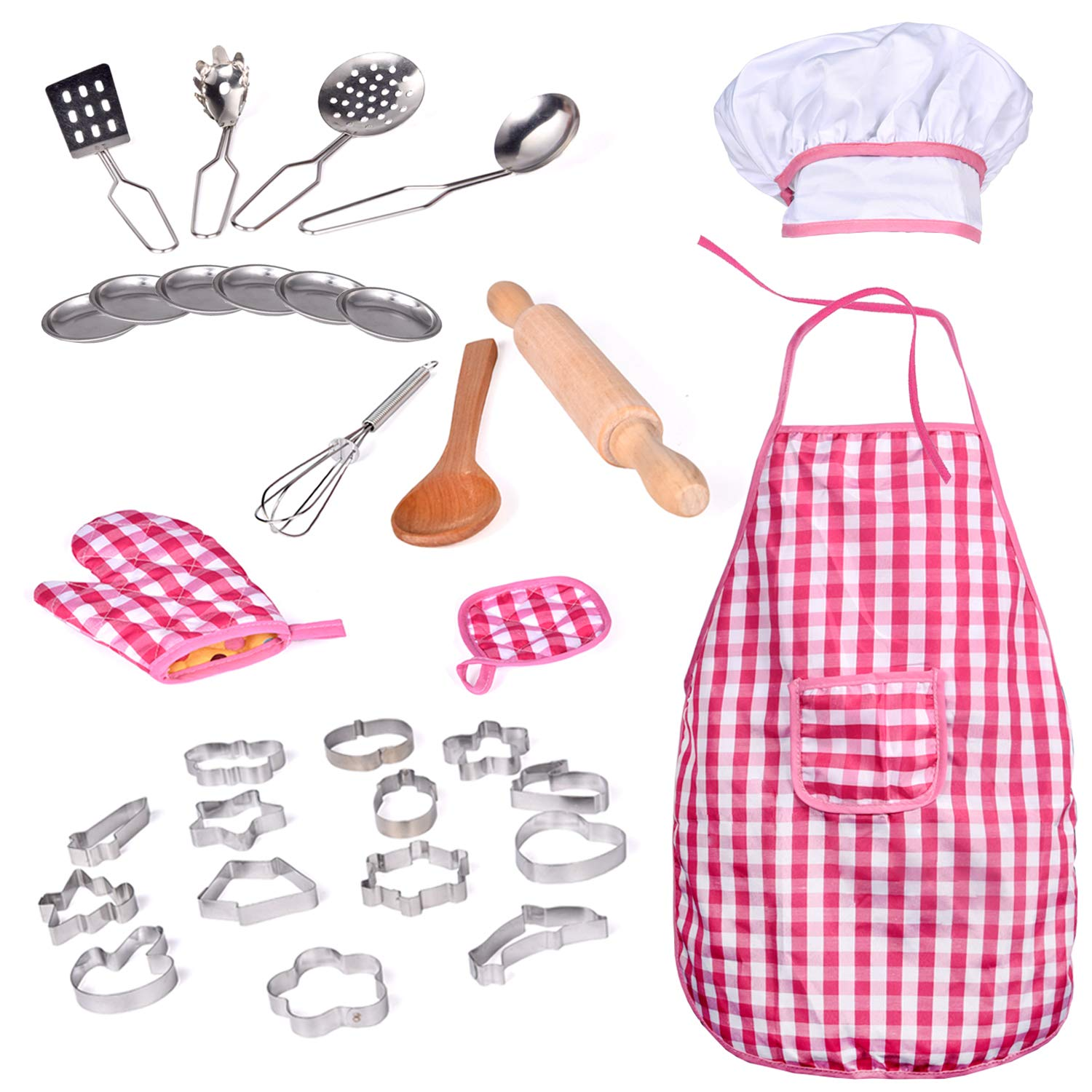 32 PCs Chef Dress Up Clothes Little Girls, Play Kitchen Accessories Set Kids, Cooking Baking Tools, Pretend Play, Birthday Gifts by FUN LITTLE TOYS