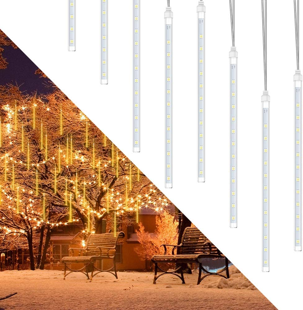 Rain Lights, Meteor Lights, econoLED LED Meteor Shower 192 LEDs 8 Tubes,Outdoor Waterproof Drop Icicle Snow Falling Raindrop Cascading String Lights for Party Wedding Christmas Decoration(Warm White)