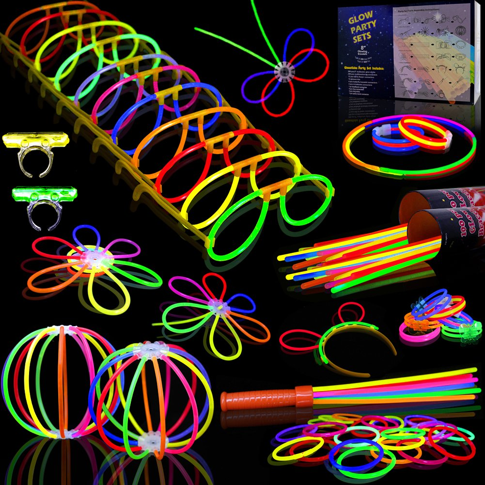 Myamy Glow Sticks Bulk 200 8'' Glowsticks 466Pcs 7 Colours for Kids Connectors Bracelets Necklaces Balls Glasses Butterfly Headbands Rings Spray Glow in The Dark Light Up Toys Party Favors