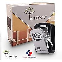 [OFFRE DE LANCEMENT] Boite a clef de rangement des clés ultra sécurisé par LIFECORP, pour clefs de maison et de voiture -Coffre fort mural robuste avec code a 4 chiffres - Installation facile
