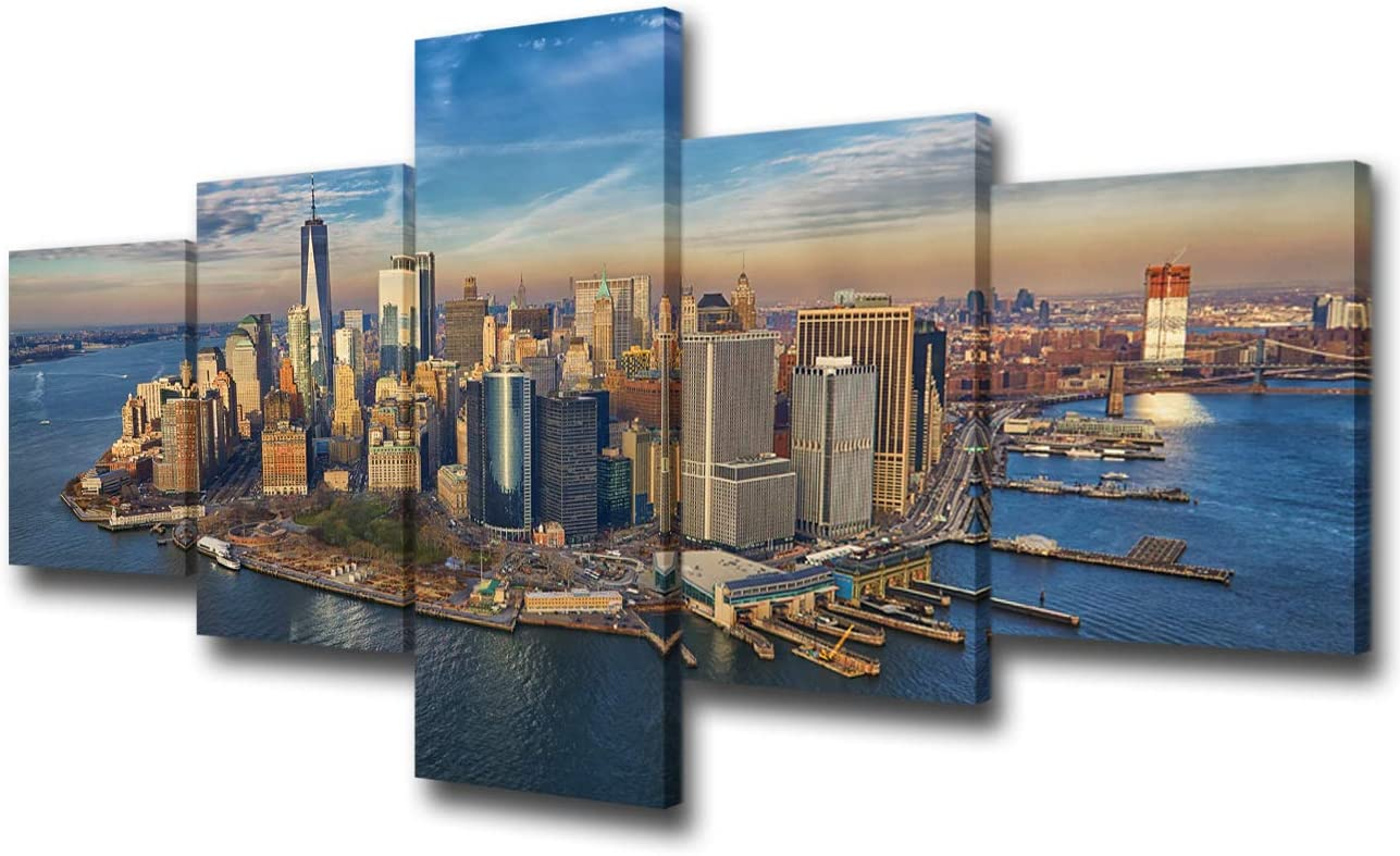 50wx24h Native American Decor 5 Piece Canvas Wall Art Downtown Seattle Waterfront With Watercolor Filter Paintings Pictures Home Decor For Living Room Gallery Wrapped Stretched Ready To Hang Wall Décor Paintings