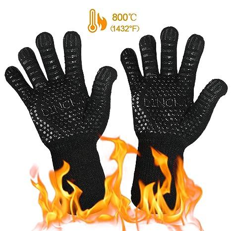 DINOKA BBQ Parrilla Guantes Hornos Mitones 1432 ° F Guantes resistentes al calor extremo Guantes barbacoa Accesorios de cocina Protector de antebrazo ...
