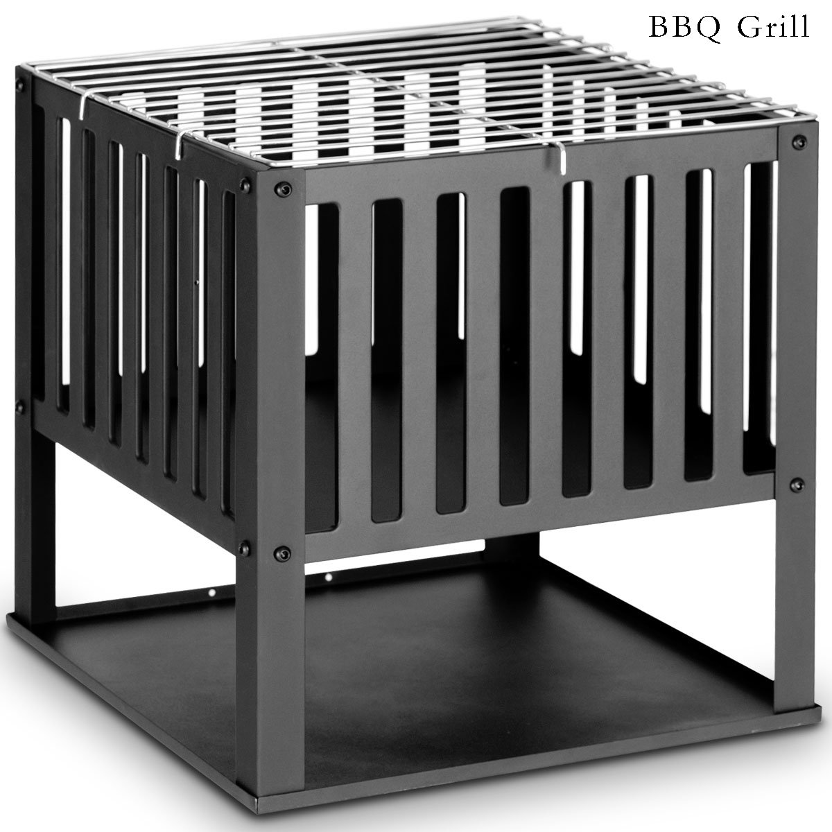 Casart Black Square Grill BBQ Charcoal Barbecue Cook Portable Steel Camping Garden Patio Outdoor