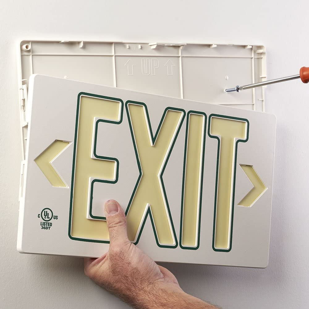 Mounts 4 Ways, Includes Bracket and Arrows UL Listed 100 Foot Jessup Glo Brite 7060-100-B PF100 Molded Plastic Exit Sign 8.75 x 15.5 Black Single-Sided