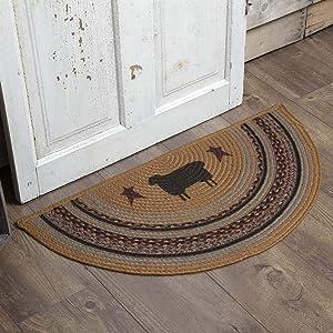 VHC Brands 37910 Primitive Flooring-Heritage Farms Tan Sheep Half Circle Jute Rug, 1'4.5