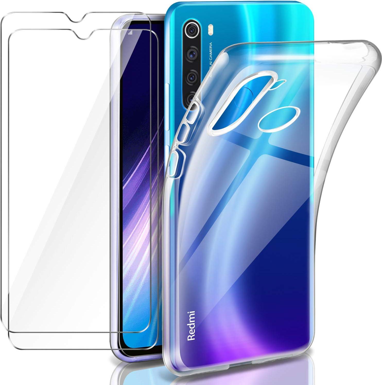Leathlux Funda Xiaomi Redmi Note 8 + 2 x Protector de Pantalla Xiaomi Redmi Note 8, Transparente TPU Silicona Funda + Cristal Vidrio Templado Protector de Pantalla y Carcasas Xiaomi Redmi Note 8