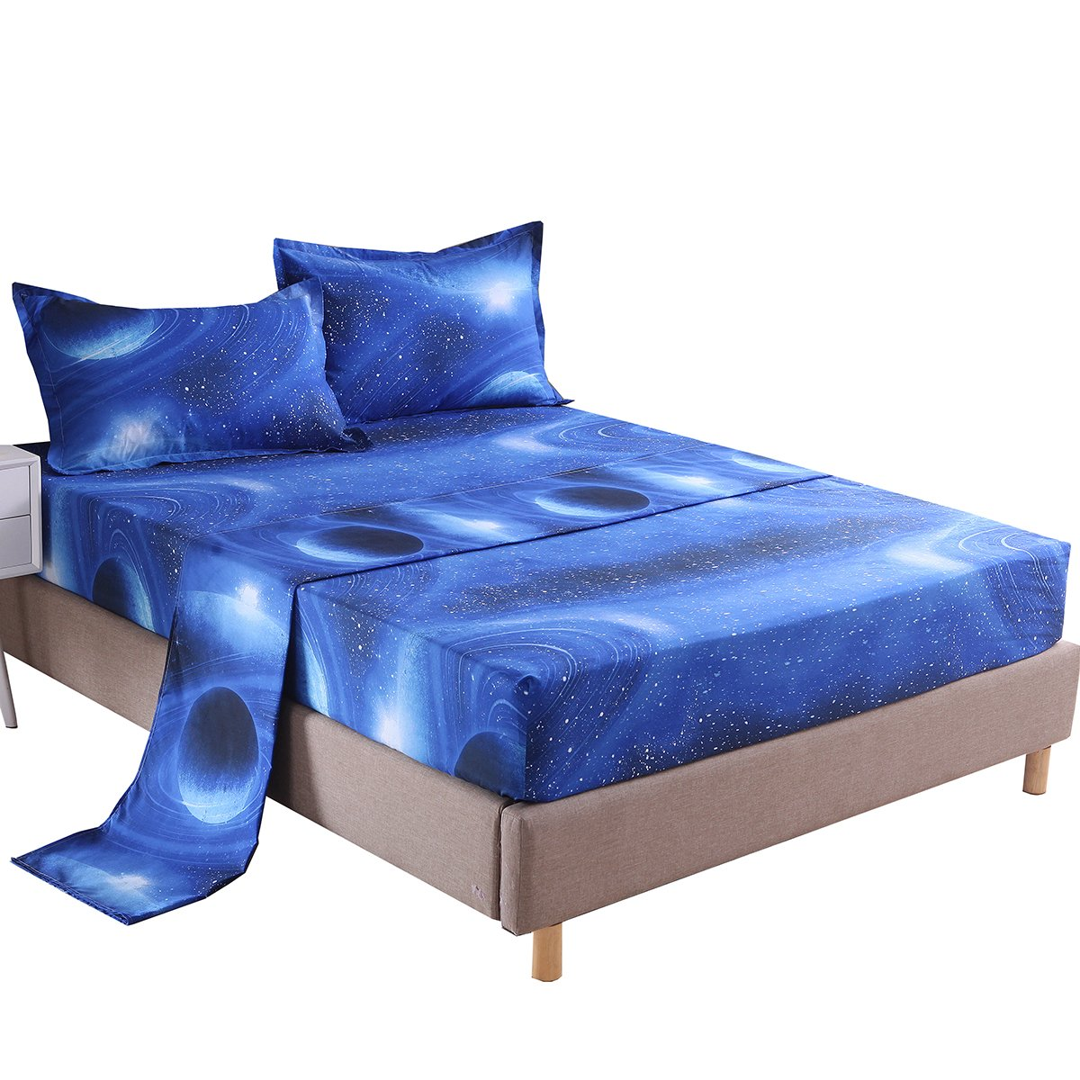 Cozzy 3pc Bed Sheets Set Outer Space Glalaxy Pattern Polyster Flat & Fitted Sheets with 1 Pillowcase Twin Size