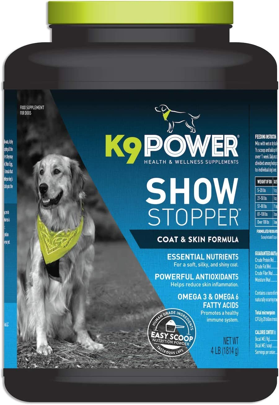 K9 Power – Show Stopper – Healthy Coat and Skin Supplement for Dogs – Reduces Excessive Itching and Shedding, Skin Hot Spots Seasonal Allergies