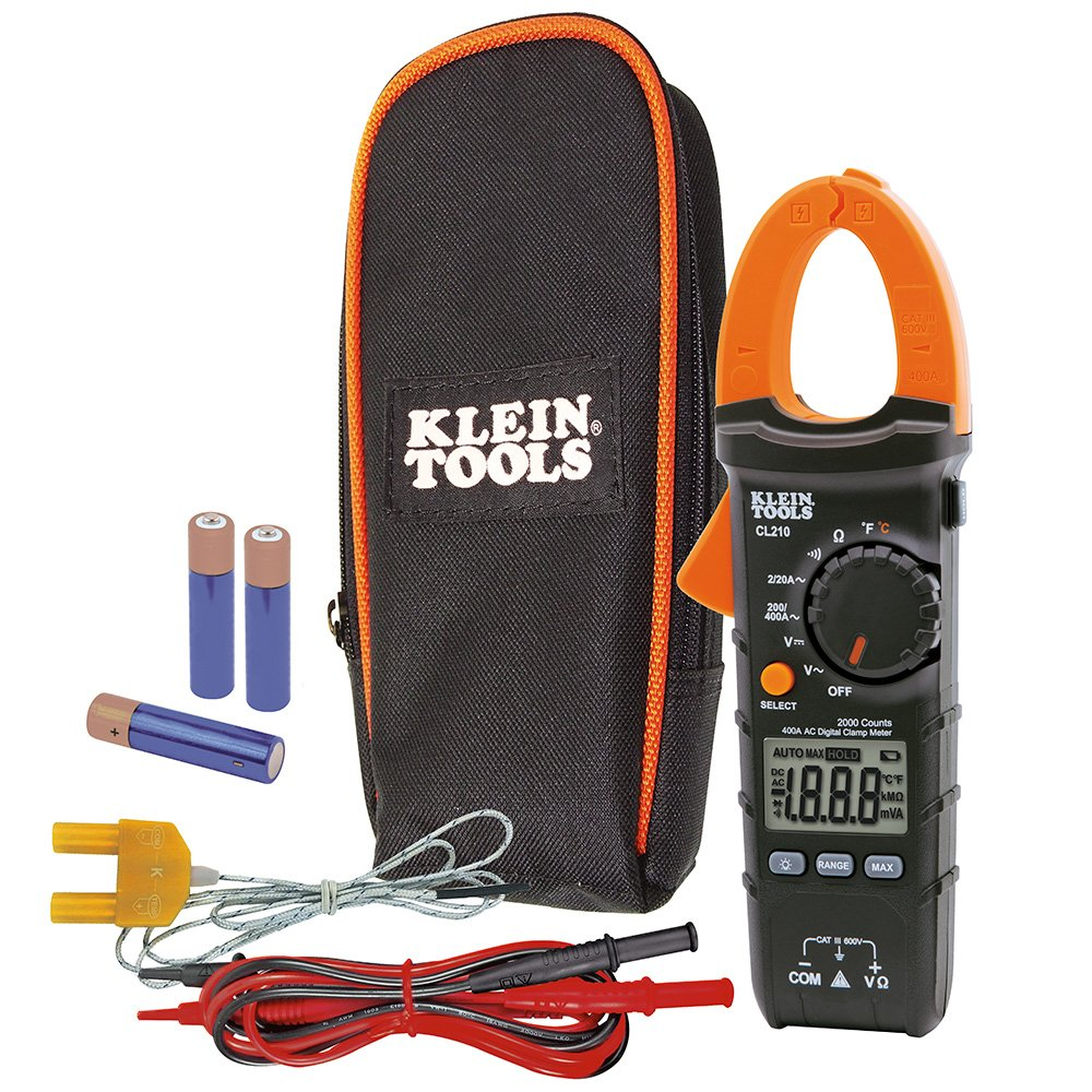 Klein Tools CL210 Digital Clamp Meter electrical tester for AC current, AC/DC voltage, resistance and continuity and Temperature