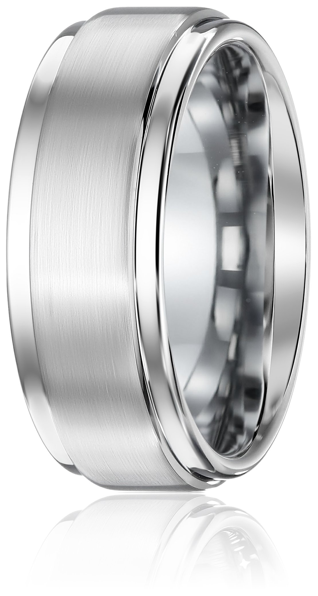 Triton Men's Grey Tungsten 9mm Step Edge Comfort Fit Wedding Band, Size 11.5 by Amazon Collection (Image #2)