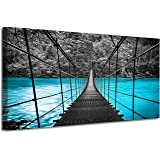 Bridge Picture Canvas Wall Art: Fog Forest Photographic Print for Decor (40'' x 20'' x 1 Panel)