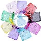 BUONDAC (9*12cm) 100pz Sacchetti Organza Colorato Bustine Buste Farfalle Sacchettini per Confetti Gioielli Matrimonio Comunione Battesimo Festa