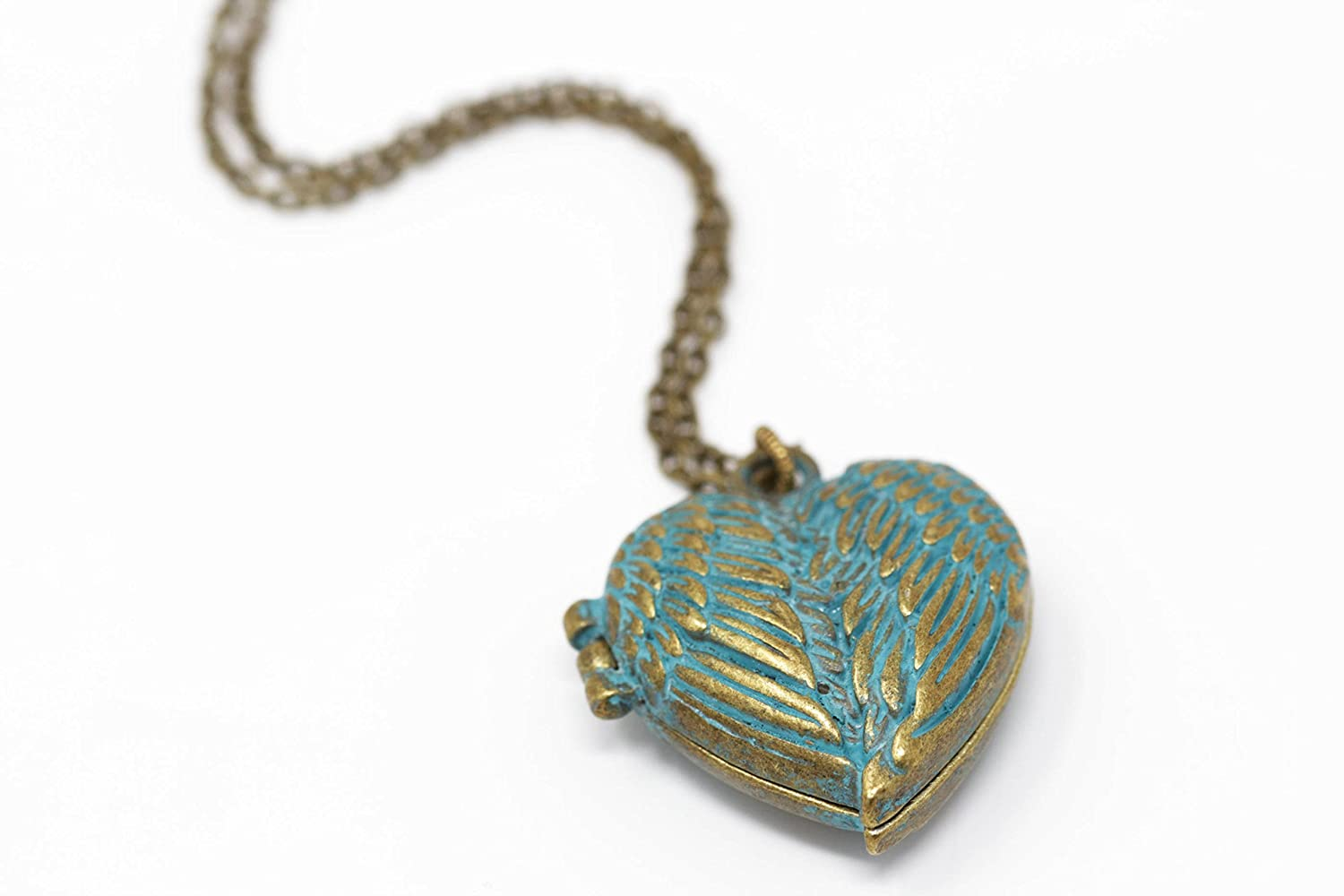Brass Heart Pendant Necklace - Patina Green - 24 Inch Chain