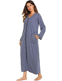 136eb403af Ekouaer Night Shirt Womens Nightgown Robe Long Sleeve Nightshirt Full  Length V Neck Loungewear with Zipper