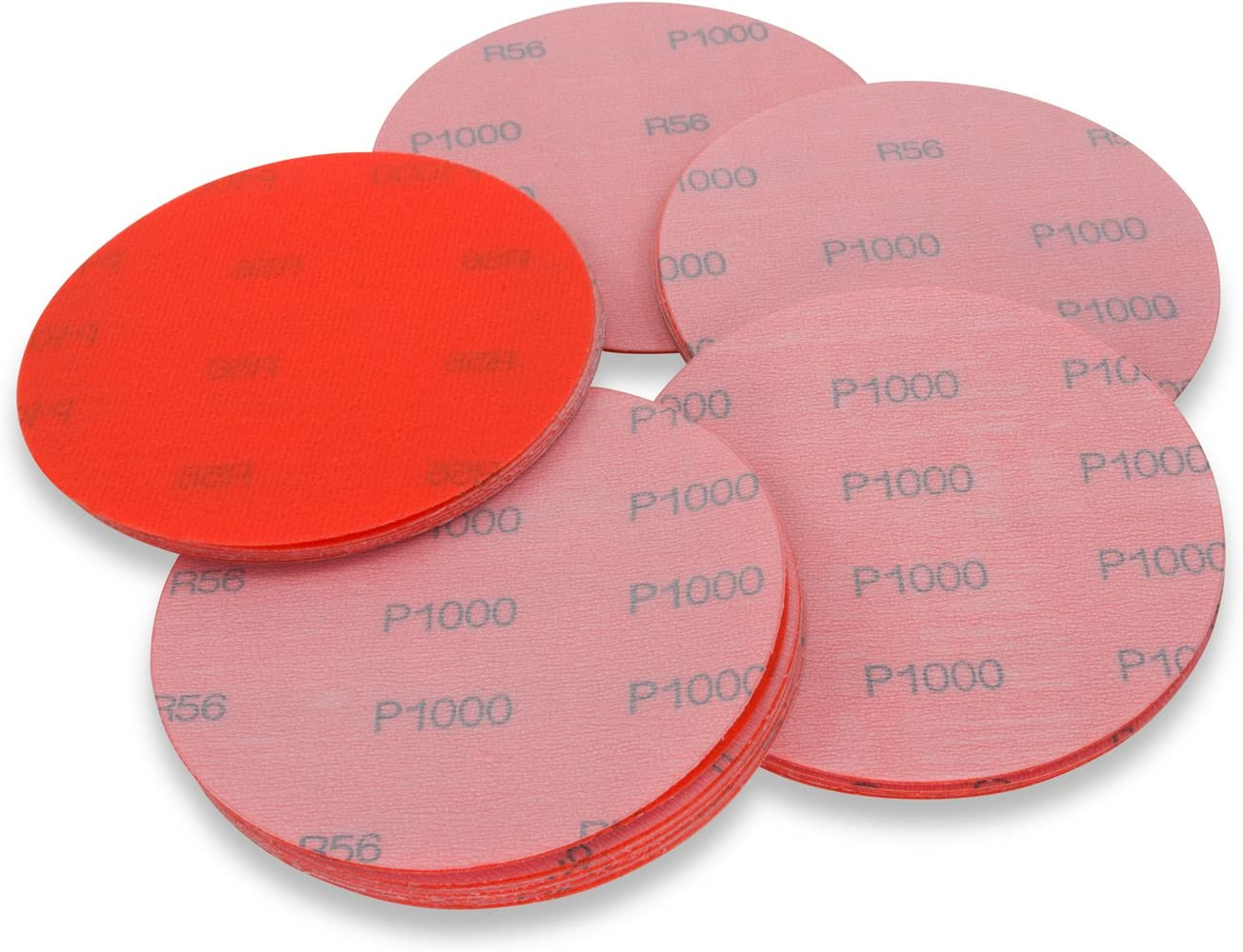 5 Inch 1000 Grit Hook and Loop Wet//Dry Auto Body Film Sanding Discs 50 Pack