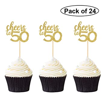 Pack Of 24 Cheers To 50 Cupcake Toppers Gold Glitter 50th Birthday