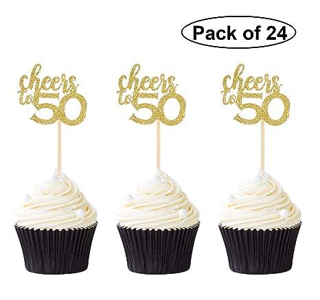 Pack de 24 adornos para cupcakes, diseño con purpurina ...