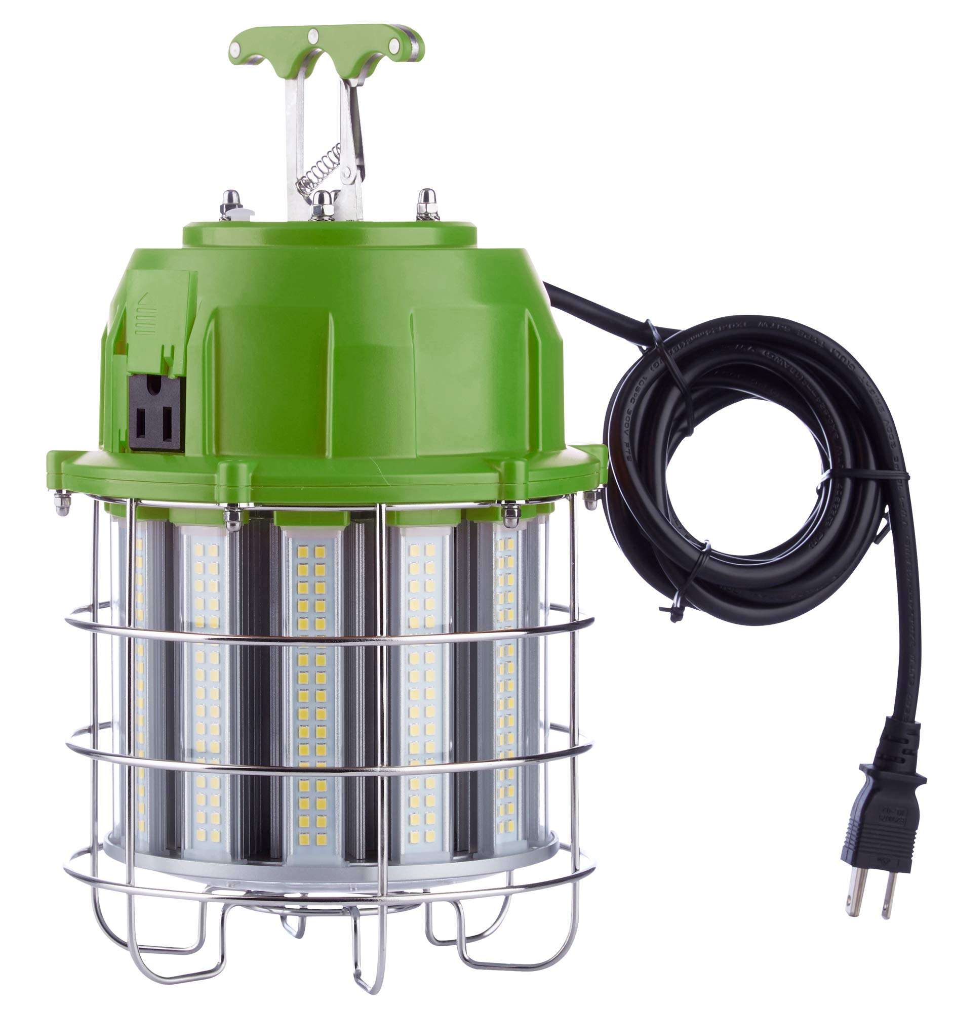 PowerSmith PTLK52-100 New 12,000 Lumen High Bay Temporary LED Daisy Chain Hanging Work Light with Metal Clasp and 10 ft Power Cord Medium Green