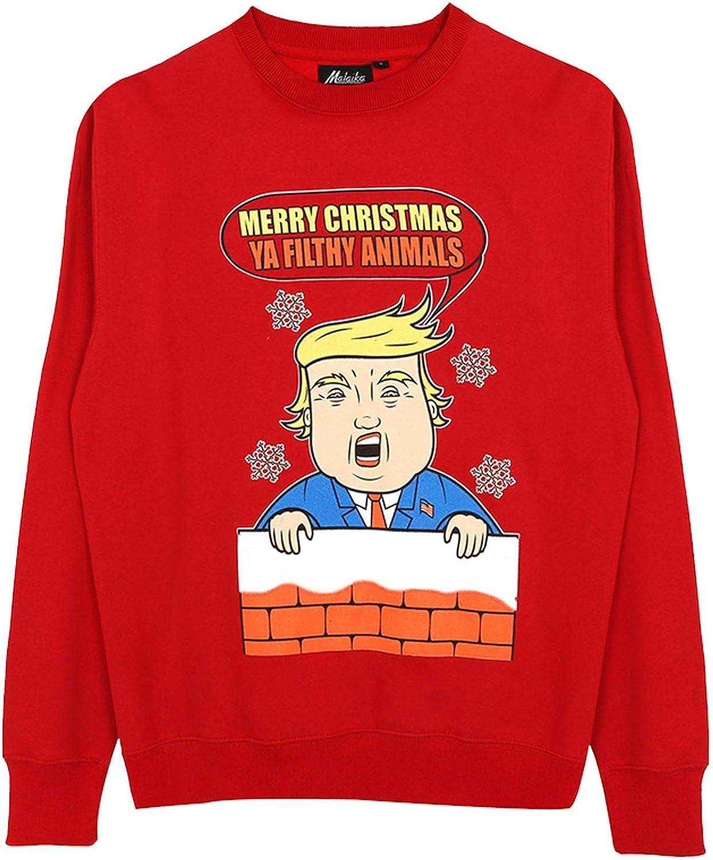 Sudadera de Navidad Unisex con diseño de Donald Trump y Texto Merry Christmas Ya Filthy Animal, para Hombre y Mujer, Estilo Retro, Tallas S-2XL