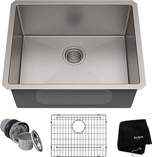 KRAUS Standart PRO 23-inch 16 Gauge Undermount Single Bowl Stainless Steel Kitchen Sink, KHU101-23 Renewed